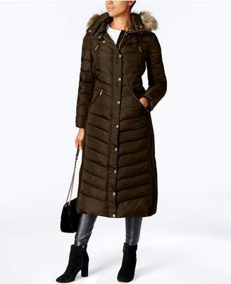 Michael Kors Faux-Fur-Trim Maxi Puffer Coat