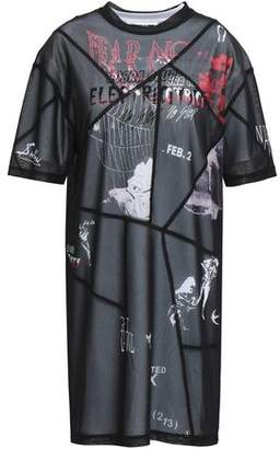 McQ Layered Printed Stretch-Mesh And Cotton-Jersey Mini Dress