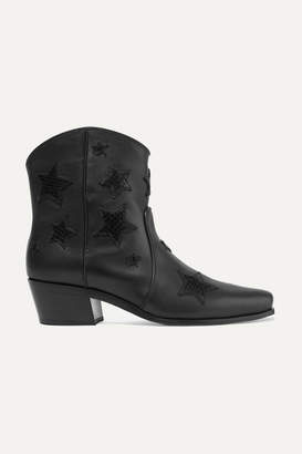 Miu Miu Embroidered Smooth And Snake-effect Leather Ankle Boots - Black