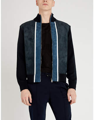 Colour-blocked wool and suede jacket