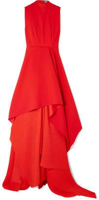 SOLACE London The Serafine Asymmetric Pleated Crepe And Chiffon Gown - Red