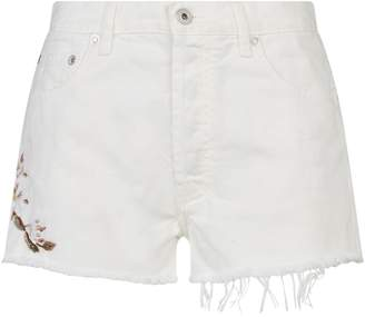 Off-White Off White Embroidered Side Denim Shorts