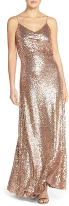 Jenny Yoo Jules Sequin Blouson Gown with Detachable Back Cowl