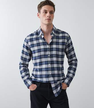 Reiss COOPER BRUSHED CHECKED OVERSHIRT Navy