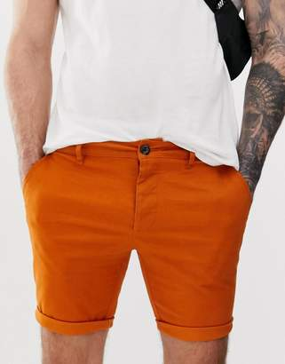 Asos Design DESIGN skinny chino shorts in orange