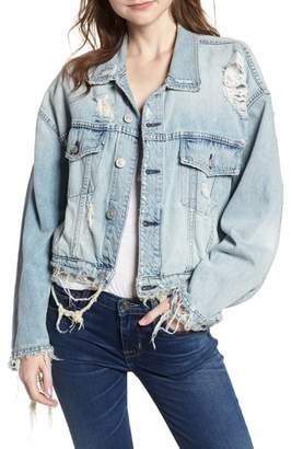 Hudson Rei Distressed Crop Denim Jacket
