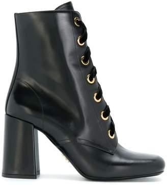 Prada high heel lace-up booties