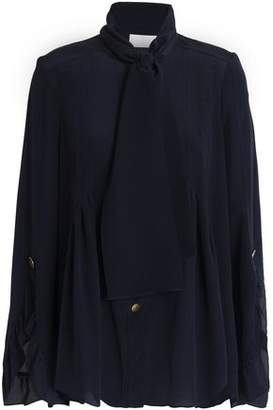 Peter Pilotto Pussy-Bow Ruffle-Trimmed Silk Blouse
