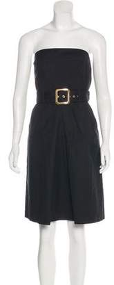 Milly Strapless Pleated Dress