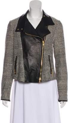 Veronica Beard Leather Tweed Biker Jacket
