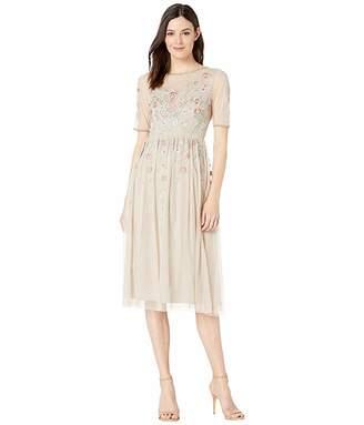 Adrianna Papell Floral Beading Tea-Length Cocktail Dress