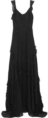 Elizabeth and James - Catherine Ruffled Silk-chiffon Gown - Black $825 thestylecure.com