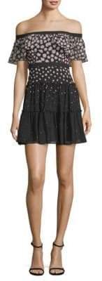 BCBGMAXAZRIA Off-The-Shoulder Printed Mini Dress