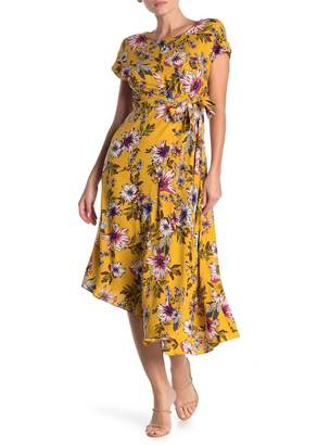 Donna Morgan Floral Print Asymmetrical Hem Stretch Crepe Dress