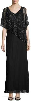 J Kara Beaded Capelet Sheath Gown