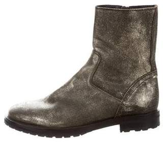Ann Demeulemeester Metallic Round-Toe Ankle Boots