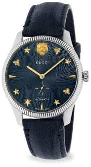 Gucci G-Timeless Stainless Steel Case 40MM Automatic Blue Guilloche Dial Blue Leather Watch