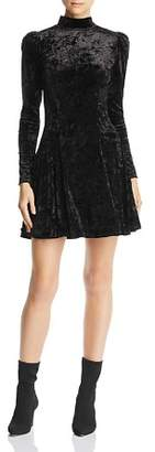 Aqua Puff-Sleeve Crushed-Velvet Swing Dress - 100% Exclusive