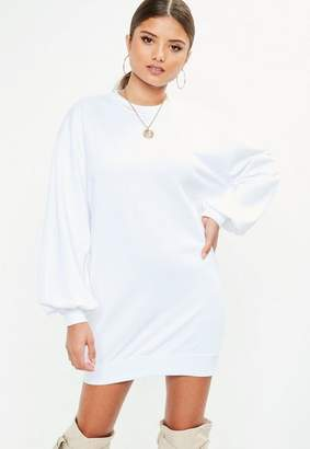 Missguided White Balloon Sleeve Sweat Dress