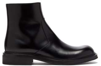 Prada Leather Ankle Boots - Mens - Black