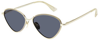Le Specs Luxe Bazaar Laser-Cut Geometric Sunglasses, Black/Gold