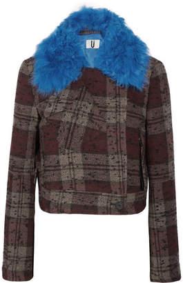 Topshop Cropped Shearling-trimmed Plaid Bouclé-tweed Jacket - Burgundy