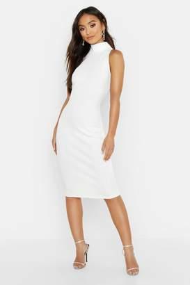 83d783220d27 boohoo Petite Bandage Halterneck Midi Dress