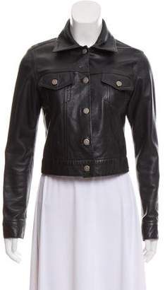Theory Leather Point-Collar Jacket