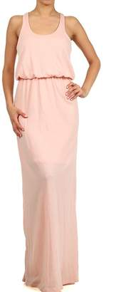 ReneeC. Women's Sleeveless Long Maxi Dress - Racerback Summer Solid Color Dresses - Pastel Pink-L