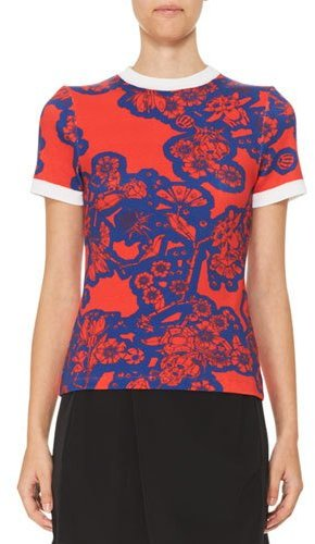 Carven Carven Short-Sleeve Floral Stretch Jersey Tee, Red/Blue