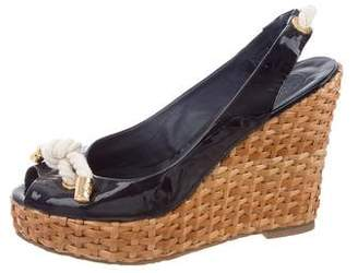 Tory Burch Patent Leather Slingback Wedges