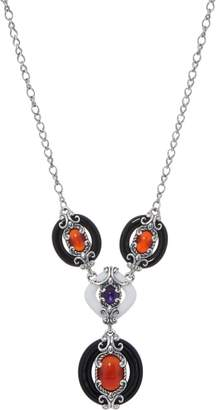 Carolyn Pollack Sterling Silver Agate & Orange Carnelian Necklace