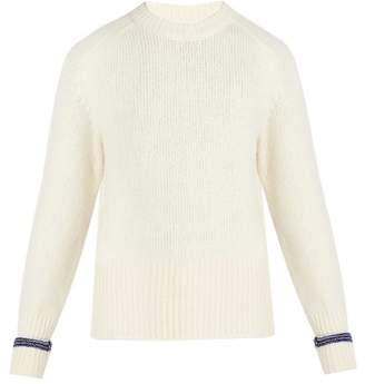 Maison Margiela Crew Neck Cashmere And Wool Blend Sweater - Mens - White