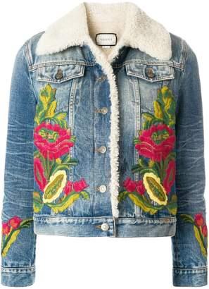 Gucci shearling lined denim jacket