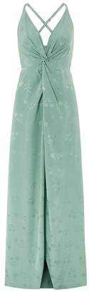 Monsoon Womens Ladies Green Karlie Knot Front Jacquard Dress - Green