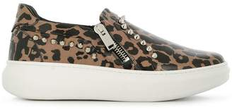 Les Hommes leopard print slip-on sneakers