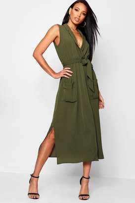 boohoo Paige Sleeveless Belted Midi Shirt Dress