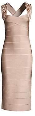 Herve Leger Women's Sleeveless Beaded Trim Bandage Dress