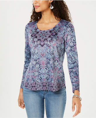 Style&Co. Style & Co Cotton Floral-Print Top