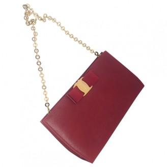 Salvatore Ferragamo Red Leather Clutch Bag
