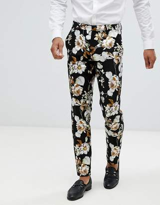 Asos DESIGN wedding skinny suit pants in black foil floral print