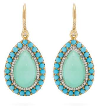 Irene Neuwirth 18kt Gold, Chrysoprase & Turquoise Earrings - Womens - Green