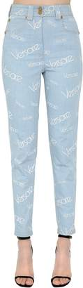 Versace High Waist Printed Cotton Denim Jeans