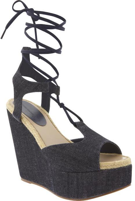 Design Editions lace-up denim wedge sandals
