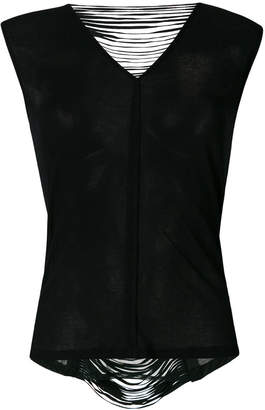 Giorgio Brato leather trimmed open back top