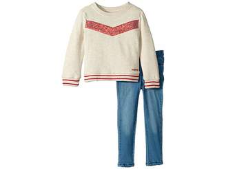 Hudson Two-Piece Oatmeal French Terry Pullover with Sequin Piecing, Stretch Denim Leggings (Toddler)