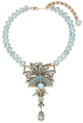 Heidi Daus Crystal Beaded Fan Cushion Necklace