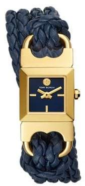 Tory Burch Womens Two-Hand Double T-Link Goldtone and Navy Leather Watch