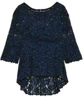 Oscar de la Renta Pleated Silk Corded Lace Peplum Top