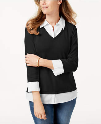 Karen Scott Cotton Layered-Look Top, Created for Macy's